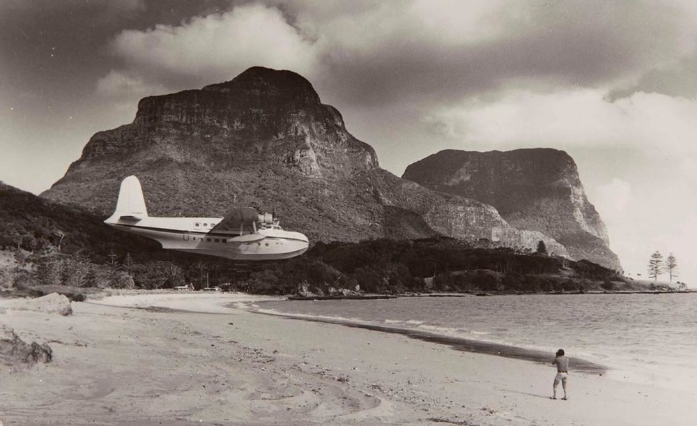 In the old days, you could arrive on the island by flying boat. Strap in! Courtesy Sydney Museums.