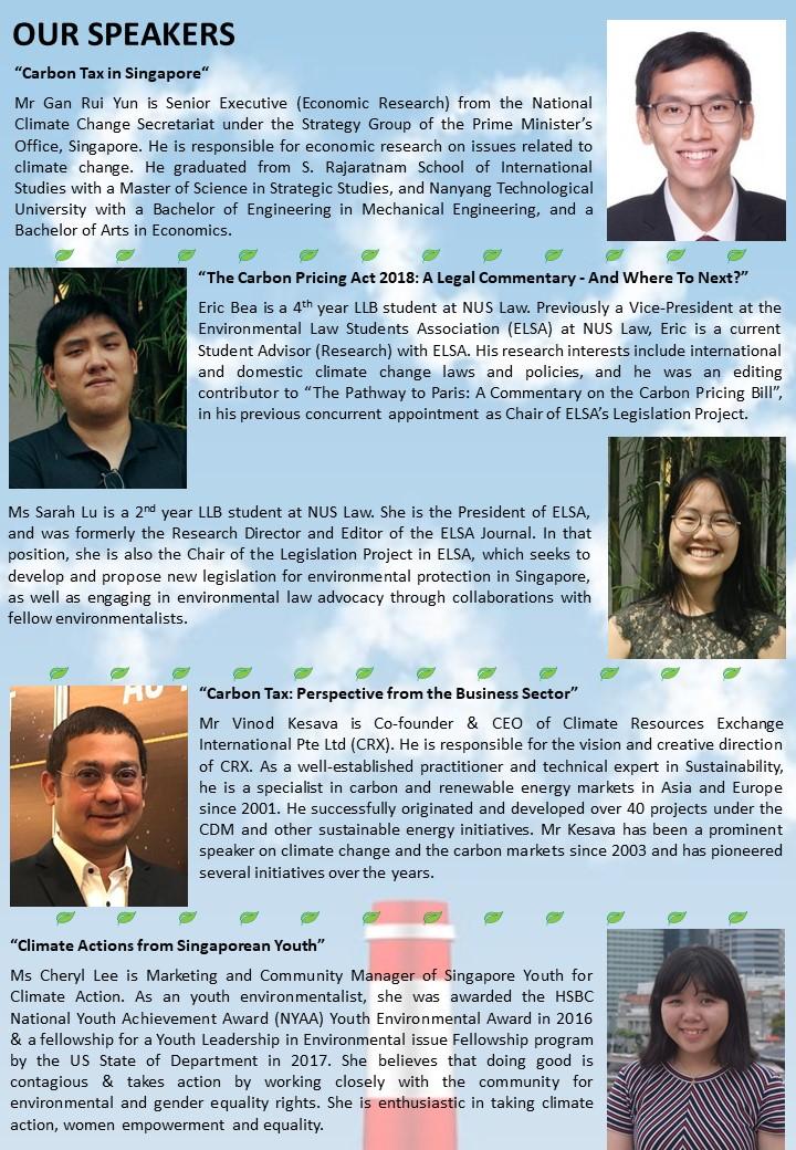 Speaker profiles of Carbon Tax seminar by NUS MEM Alumni on 25 August 2018.