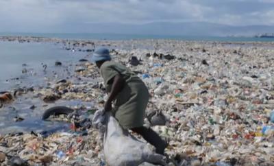 Haiti's beaches and waterways were inundated with rubbish. Courtesy Thread.