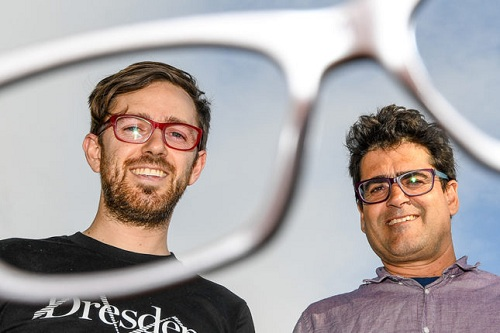 McDermott and Jeffreys both wear glasses - and make them sustainable too. Courtesy Dresden