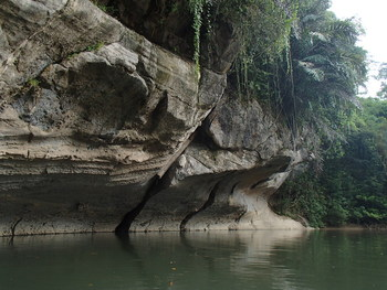 Spectacular geological formations observed along the river course. Photo credit: Semadang Kayak