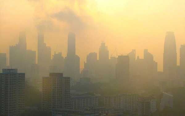 Forest burning in Indonesia is a major cause of haze events such as this one in Singapore in October 2005. Credit: asiabruin / flickr.