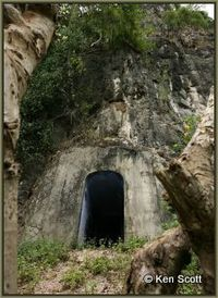The caves were only accessible through strengthened doorways like this one