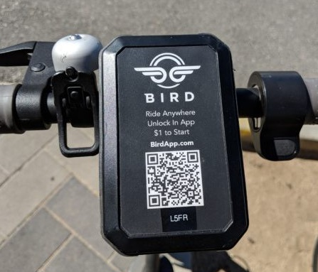 A rider simply launches the app, scans the unique QR code and off they ride. Courtesy Bird.