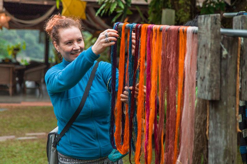 Drying silk yarn at a workshop. (Pic Credits: Ock Pop Tok)