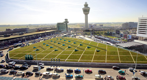 Schipol's Green Roof uses an innovative mix of vegetation and solar panels to help keep emissions down