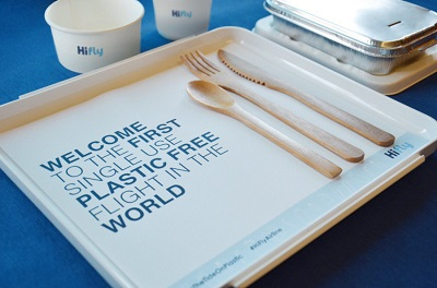 Recyclable inflight packaging and cutlery is catching on fast. Courtesy Hi Fly.