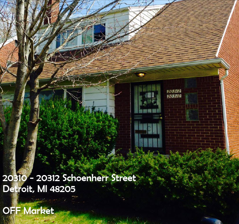 2-unit duplex now $43.9k - 20310 – 20312 Schoenherr st. Detroit, MI 48205• Building Class: C• Occupancy: 100%• Terms: Cash or New Financing