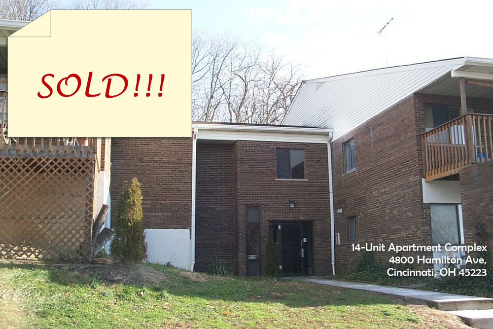 Under contract 14-unit Apartment Complex for sale - 4800 Hamilton Ave Cincinnati, OH 45223• Purchase Price: $415K plus Assignment Fees• Market Retail Value is $540K based on local market CAP of 8.5%• Rent Increase Upside