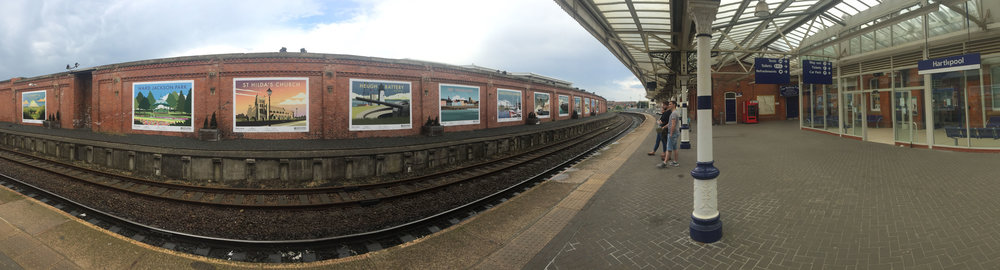 panoramic shot of hartlepool train station artwork