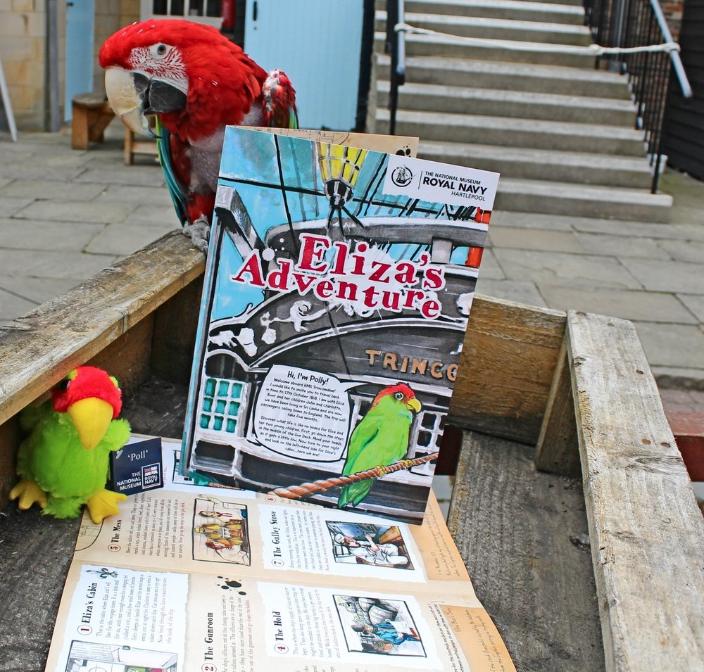 Vegas the parrot with 'Poll' promotional plush and Eliza's Adventure trail at the National Museum of the Royal Navy Hartlepool