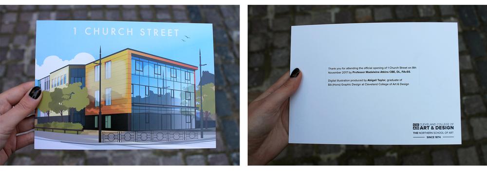 The Northern School of Art - 1 Church Street (Hartlepool) Illustration on launch invite