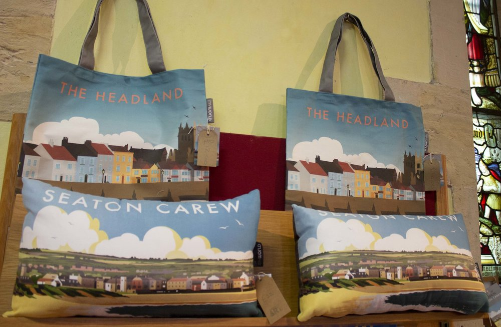 Featured Products: The Headland lined tote bags and Seaton Carew faux velvet pillows