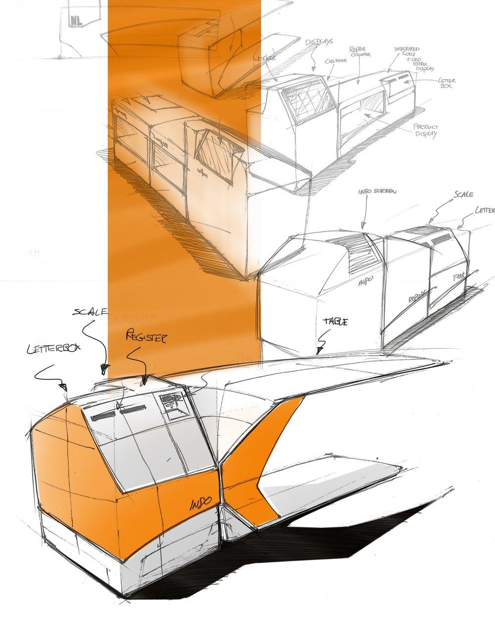 Shop-desk with postal services