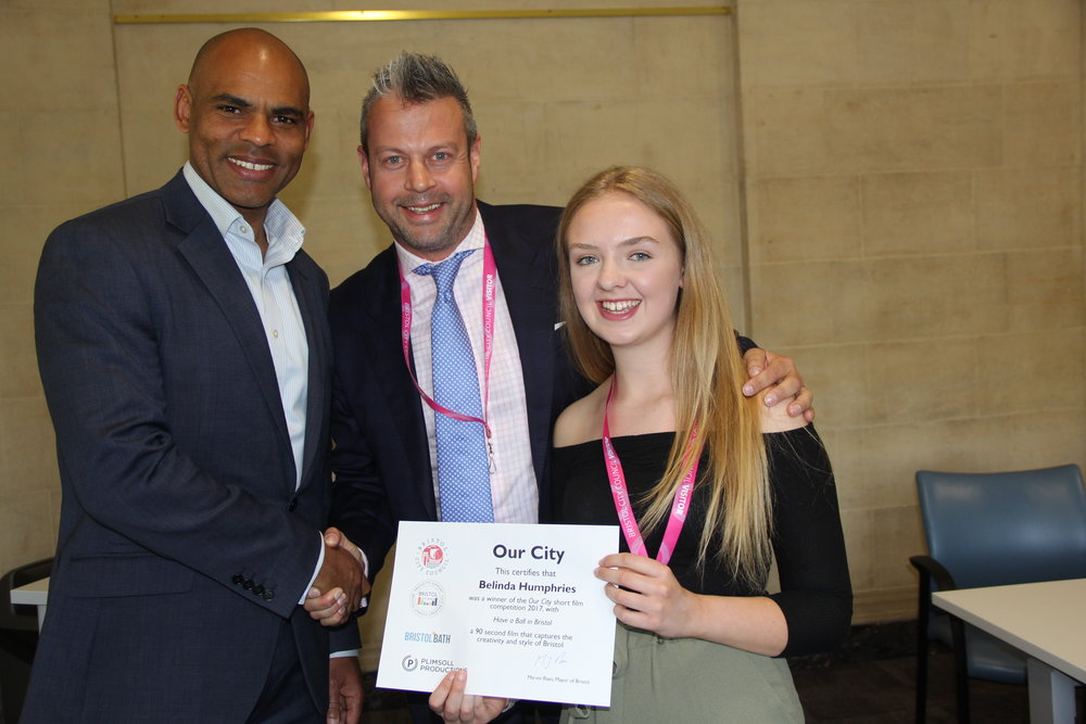 Pictured (left to right): Mayor Marvin Rees, Julian Barton-Hill, Belinda Humphries