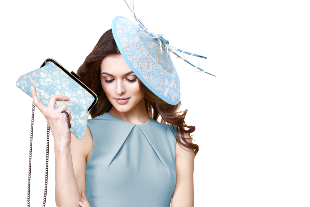lady with cornflower blue hat and bag.png
