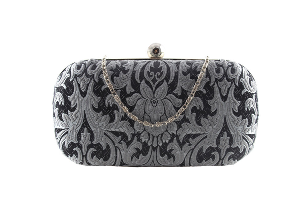 silver and black brocade oval clamshell clutch.jpg