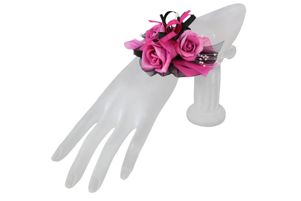 fushia pink and black rose keepsake corsage.jpg