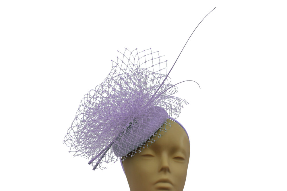 pillbox fascinator veiling and quill lilac.jpg