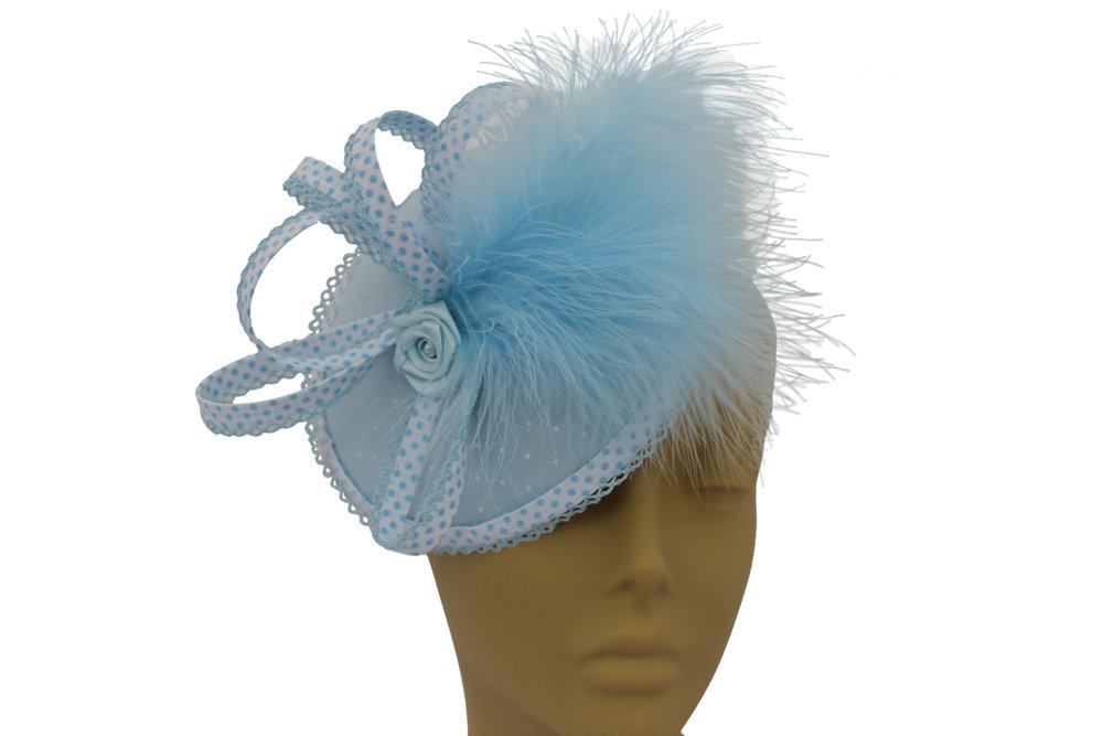 duck egg blue fasinator on head.jpg