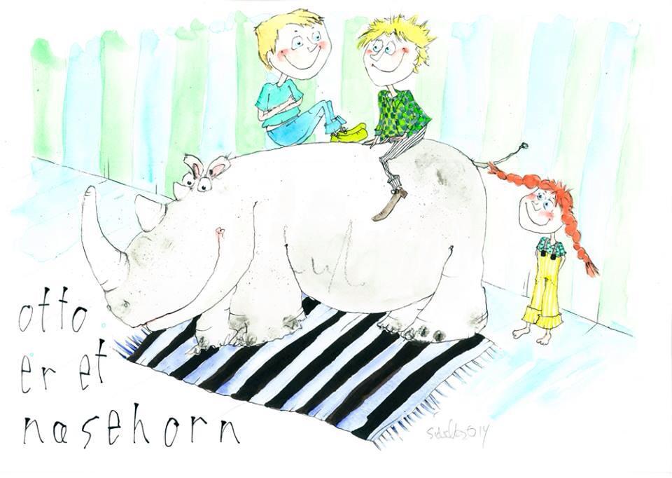 """""""Otto er et næsehorn"""", original tegning"""