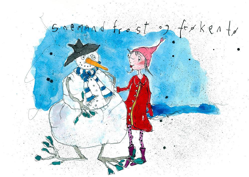 Snemand Frost og frøken Tø, tryk til salg, kr. 350