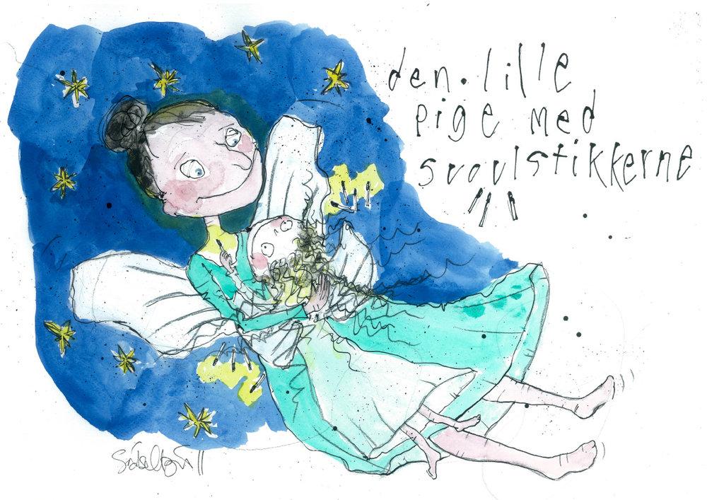 Den lille pige med svovlstikkerne, tryk til salg, kr. 350