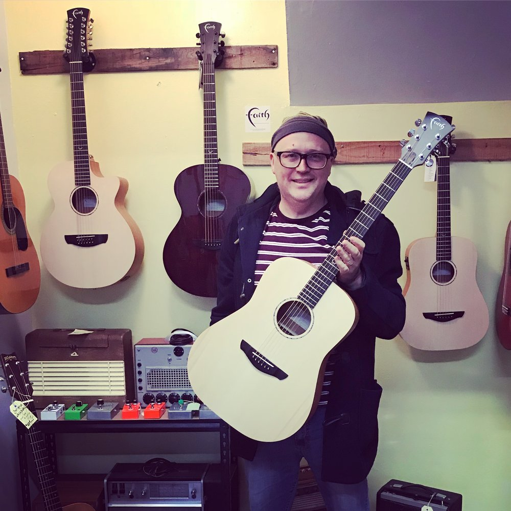 Brian was our first customer to purchase this stunning Faith Naked Saturn electro/acoustic. Catch him at a local gig in the mountains.