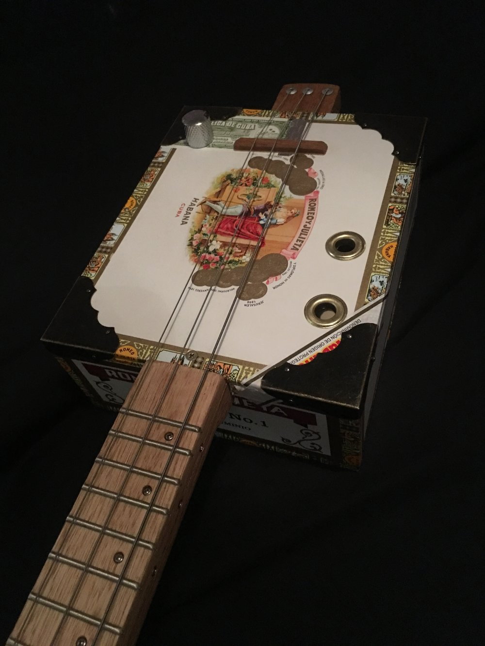 STORMRIDER fretted CBG - If you want a CBG with that classic old world blues tone you cant go past a CBG with an acoustic piezo pickup. A piezo pickup allows you to amplify the acoustic tones of the instrument. Years of research have gone into developing our pickup placement so you can use this instrument in a real live performance situation.* genuine cigar box* mountain ash neck* oak or rosewood fretboards* professionally installed and finished frets* quality tuners* industry standard electrics* through neck construction* decorative corner protectors* 3 or 4 stringFrom $289