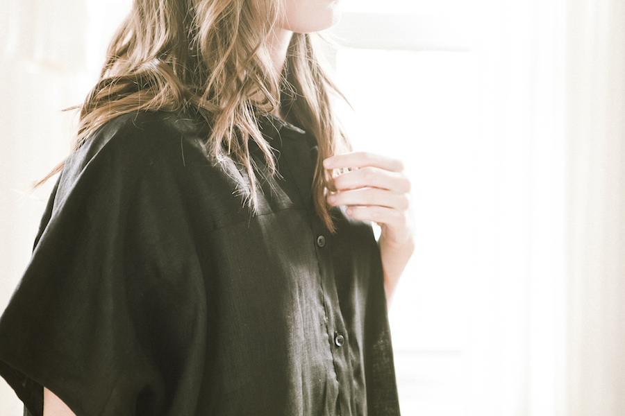 TheSleepShirt_Fall2015_ButtonDownSleepShirt_BlackLinen_1