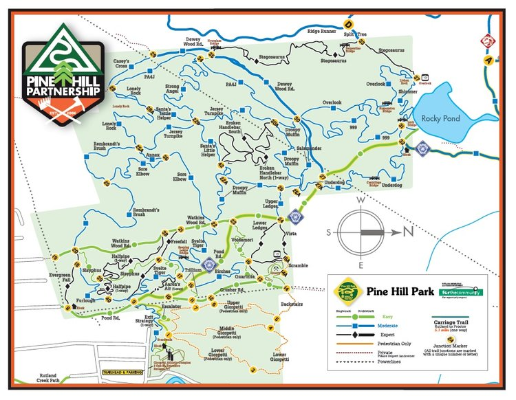 Click image to download a printable Pine Hill Park trail map (2mb, PDF)
