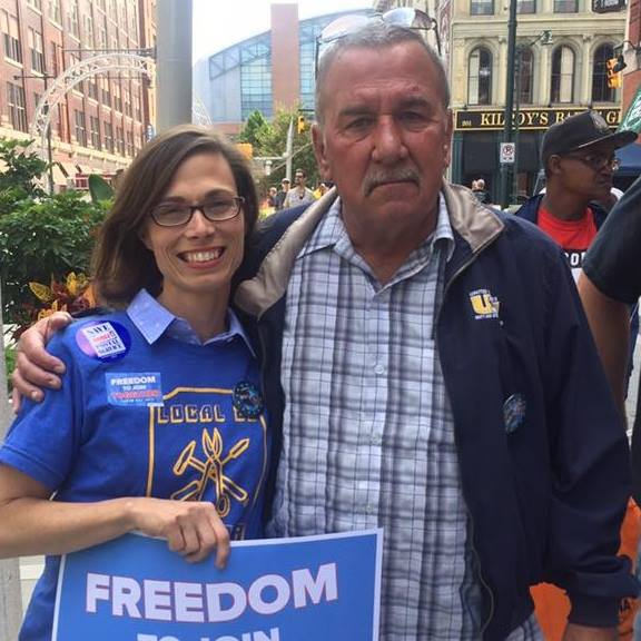 Liz with labor leader and former USW 1999 President, Chuck Jones