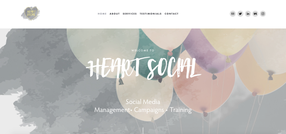 Heart Social - A brand new business needing a brand new website. This website needed to showcase the skills of the business as well as gain interest of potential clients.