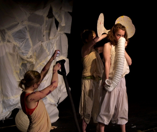Marta Rizi as Snake Puppeteer, Rebecca Lea as Elephant. Photograph William Reynolds.