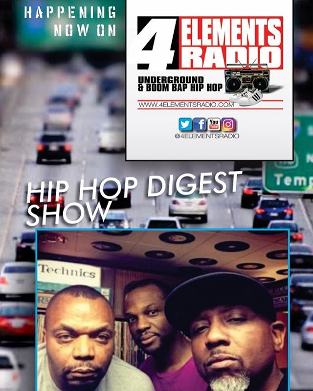 Happening Now: THE HIP HOP DIGEST SHOW on 4 Elements Radio... The only station representing Underground & Boom Bap Hip Hop!!! Download the free '4 ELEMENTS RADIO APP' in the App Store/Google Play or listen via TUNEIN or any other internet radio streamer... #4ElementsRadio | #RealHipHop | #BoomBap | #UndergroundHipHop | #HipHopRadio | #InternetRadio | #4ElementsOfHipHop | #GrownManHipHop | #BoomBapHipHop | #OnlineRadio | #NoMumbleRap | #StrictlyBoomBap | @hiphopdigestshow