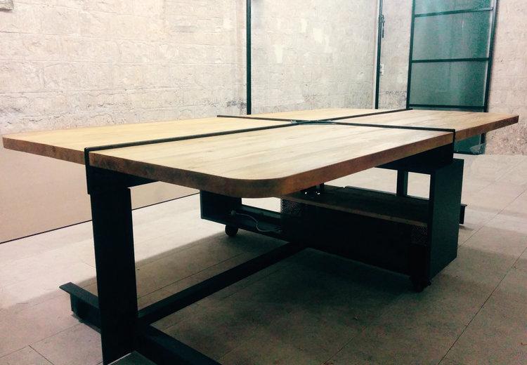 Bureau multipostes en bois massif et métal 16men u2014 hopfab pro