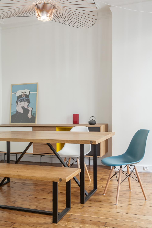 Ensemble table et banc bois et métal sur-mesure Muni&co