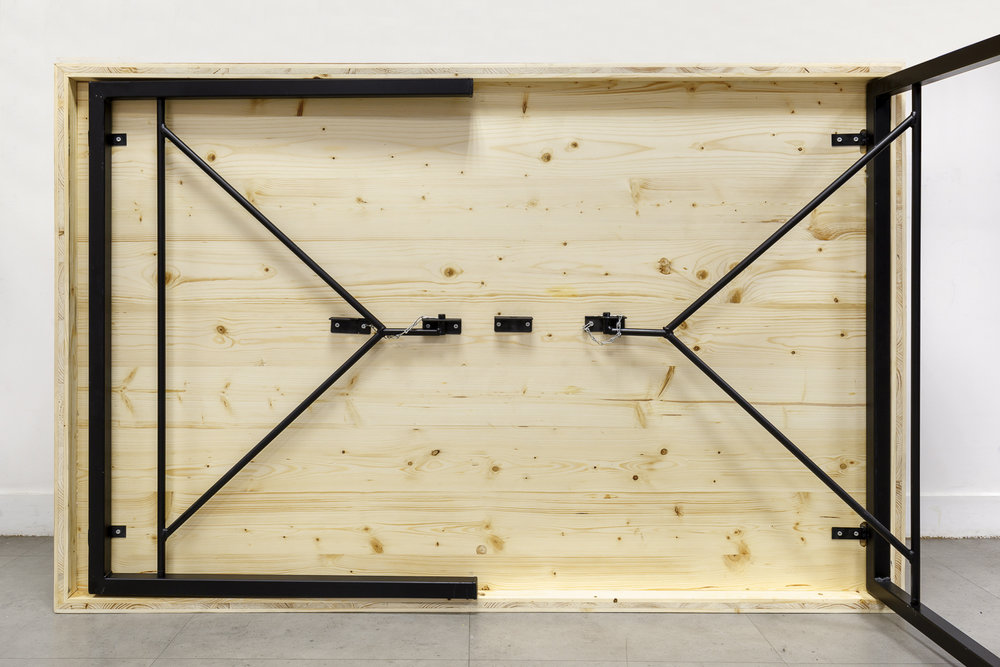 table pliante bois massif espace de coworking