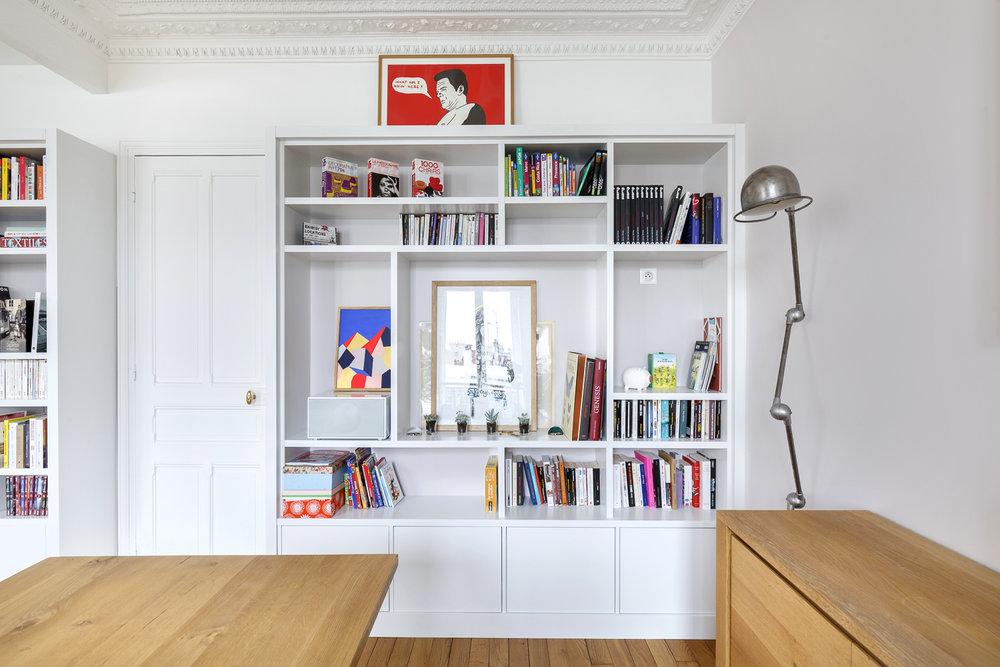 bibliothèque sur-mesure appartement Boulogne