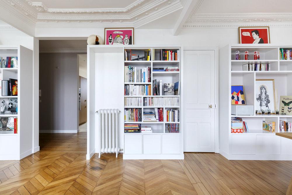bibliothèque ouverte et fermée sur-mesure appartement Boulogne