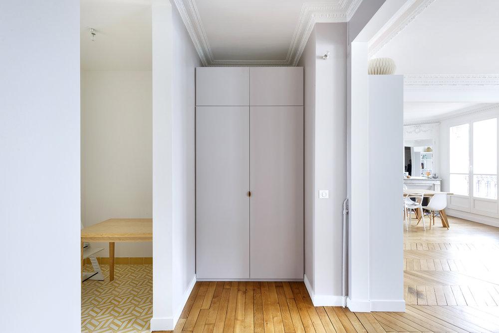 meuble d'entrée penderie sur-mesure appartement Boulogne