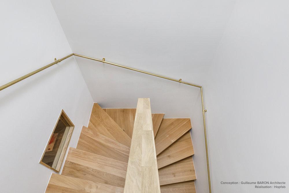 escalier sur-mesure métal et bois - artisan qualité - Hopfab