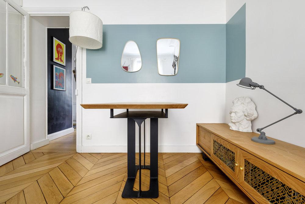 Table sur-mesure chêne massif et pieds en métal - Hopfab