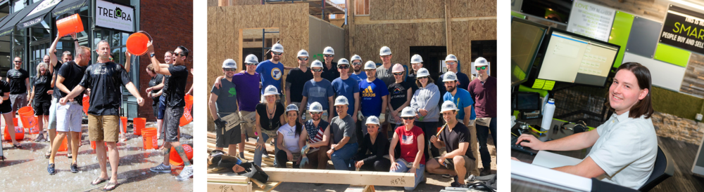 ALS ice bucket challenge photo, TRELORA team members posing in front of Habitat for Humanity build, Ian a TRELORA employee at his desk