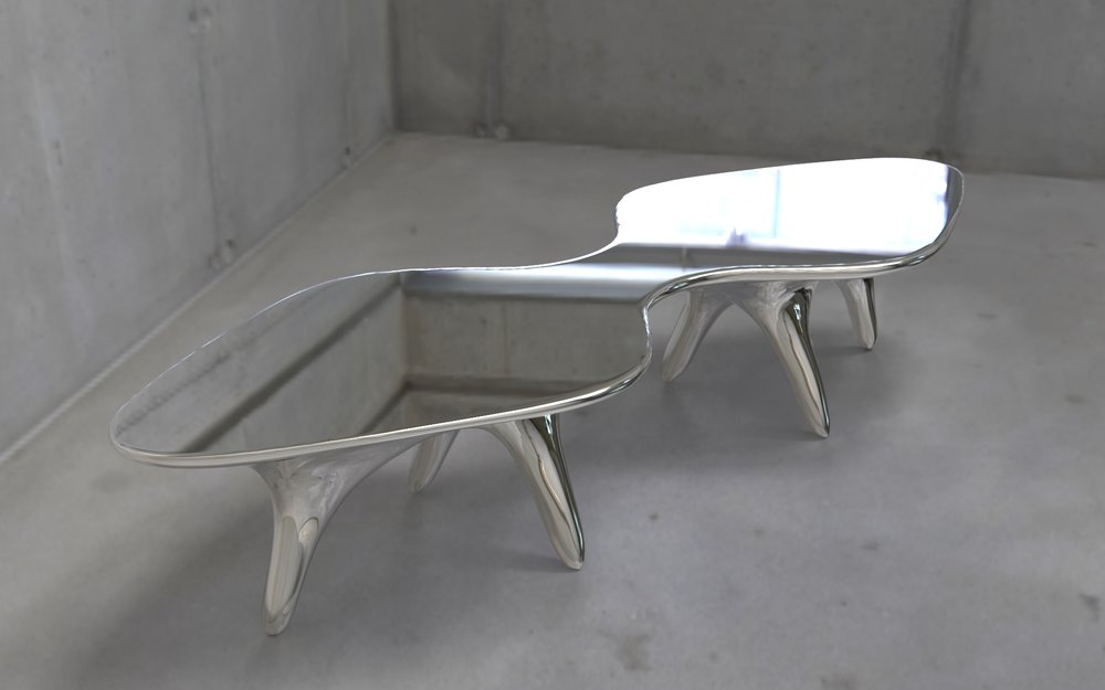 Titus coffee table, polished stainless steel, limited edition for Galerie Loft, Paris