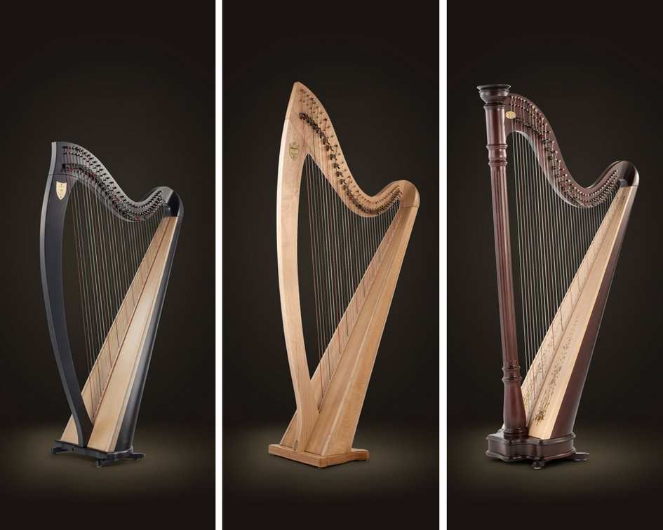 Lever harps sold by Lyon and Healy, from L to R: Ogden, Troubadour VI, Prelude 40