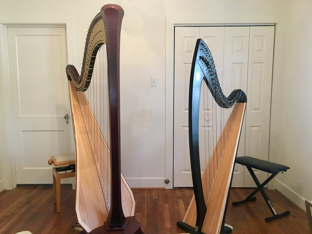 Stephanie's studio space allows for lessons on a Lyon & Healy concert grand pedal harp or Troubadour lever harp.
