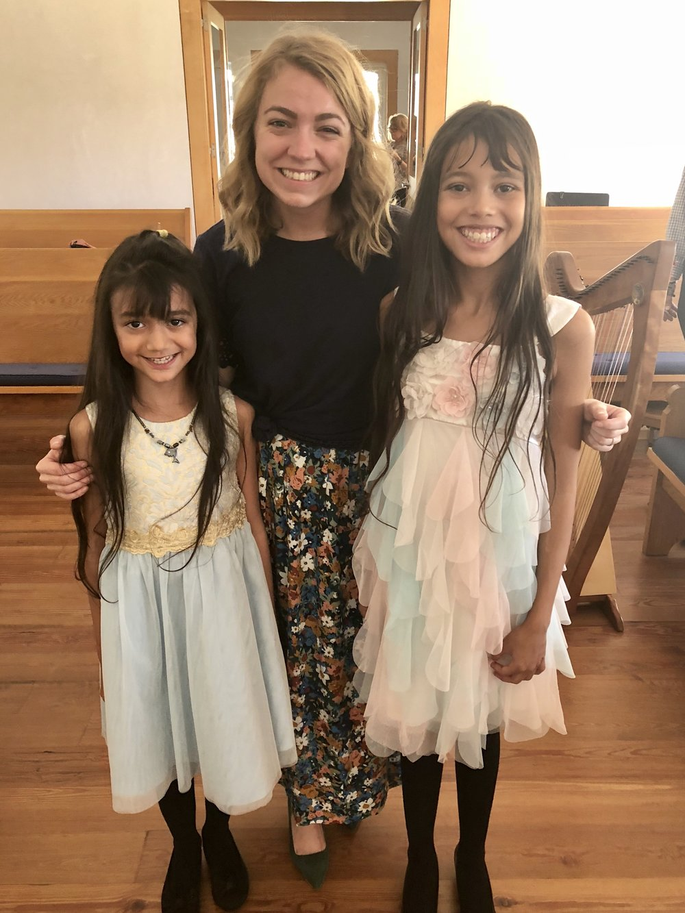 Proud sisters after their beautiful winter 2018 harp performances