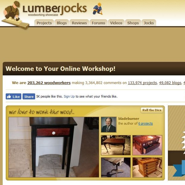 Lumberjocks.  Woodworkers of all skill levels post their projects here daily (over 100,000 to date!), and provide project guidance and feedback. A great source of inspiration and a fine way to share your accomplishments!