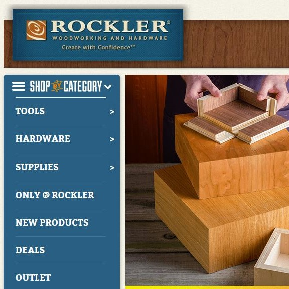 Rockler Woodworking and Hardware.  They offer a wide selection of hardware for woodworking projects; specialty blades and bits; jigs and guides, and; unusual wood.